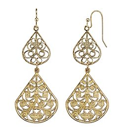 1928® Jewelry Goldtone Filigree Drop Earrings