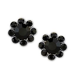 1928® Jewelry Silvertone Black Button Earrings