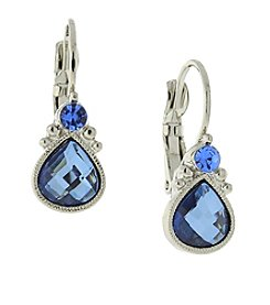 1928® Jewelry Silvertone Light Blue Faceted Teardrop Earrings
