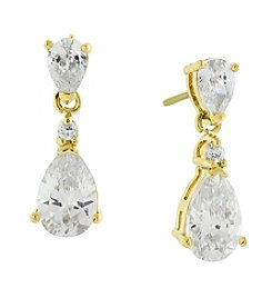 1928® Jewelry 14K Gold-Dipped Cubic Zirconia Petite Teardrop Earrings