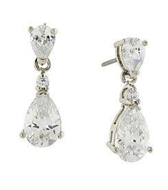 1928® Jewelry Silvertone Cubic Zirconia Petite Teardrop Earrings