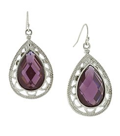 1928® Jewelry Silvertone Purple Filigree Pear Shape Drop Earrings
