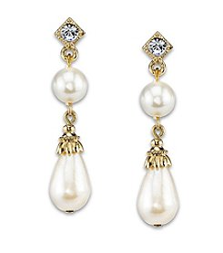 1928® Jewelry Goldtone Simulated Pearl with Crystal Accent Drop Earrings