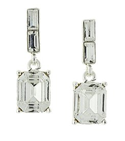 1928® Jewelry Silvertone Octagon Drop Earrings Made with Swarovski® Crystals