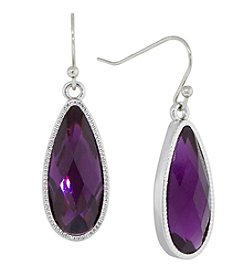 1928® Jewelry Silvertone Purple Color Elongated Teardrop Earrings