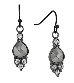 1928® Jewelry Hematite Color and Crystal Accent Petite Drop Earrings