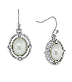 1928® Jewelry Silvertone Simulated Pearl and Crystal Accent Oval Drop Earrings