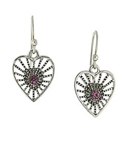 1928® Jewelry Antiqued Silvertone Purple Petite Filigree Heart Earrings