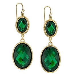 1928® Jewelry Goldtone Emerald Green Faceted Oval Drop Earrings