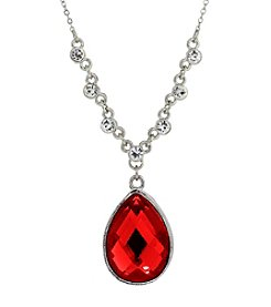 1928® Jewelry Silvertone Red Teardrop 16