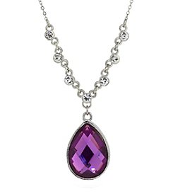 1928® Jewelry Silvertone Purple Teardrop 16