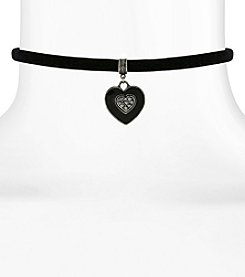 1928® Jewelry Black Velvet Choker with Black Hand Enameled Crystal Heart Pendant 12