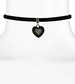 1928® Jewelry Black Velvet Choker with Black Hand Enameled Crystal Heart Pendant 12