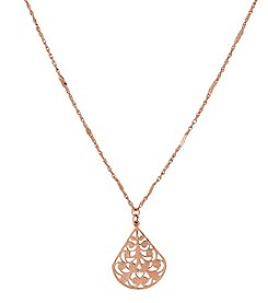 1928® Jewelry Rose Goldtone Filigree Pearshape 16