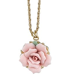 1928® Jewelry Goldtone Genuine Pink Porcelain Rose 16