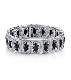 1928® Jewelry Silvertone Black Navette Stretch Bracelet