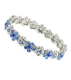 1928® Jewelry Silvertone Blue Flower Stretch Bracelet
