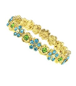 1928® Jewelry Goldtone Blue and Green Flower Stretch Bracelet