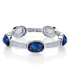 1928® Jewelry Silvertone Blue Faceted Stretch Bracelet