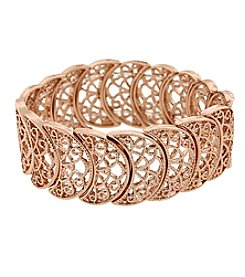 1928® Jewelry Rose Goldtone Half Circle Filigree Stretch Bracelet