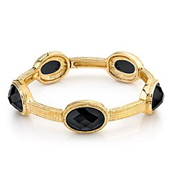 1928® Jewelry Goldtone Black Faceted Stretch Bracelet