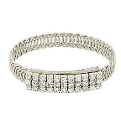 1928® Jewelry Silvertone Clear Crystal Rhinestone Slim Belt Bracelet