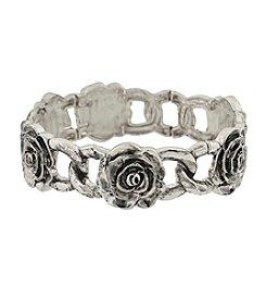 1928® Jewelry Silvertone Rose Flower Stretch Bracelet