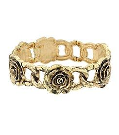 1928® Jewelry Goldtone Rose Flower Stretch Bracelet