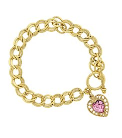 1928® Jewelry 14K Gold-Dipped Pink Swarovski® Elements Heart Toggle Bracelet