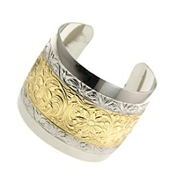1928® Jewelry Goldtone and Silvertone Floral Cuff Bracelet