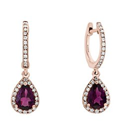 Effy® 14K Rose Gold Diamond And Rhodolite Earrings