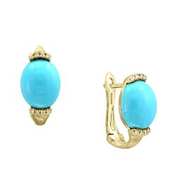 Effy® 14K Yellow Gold Diamond And Turquoise Earrings