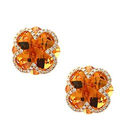 Effy® 14K Yellow Gold 0.12 ct. t.w. Diamond And Citrine Earrings