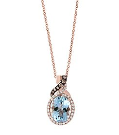Effy® 14K Rose Gold Diamond And Aquamarine Pendant