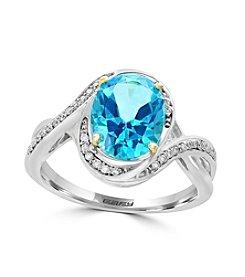 Effy® 14K Two Tone Gold 0.15 ct. t.w. Diamond, And Paraiba Topaz Ring