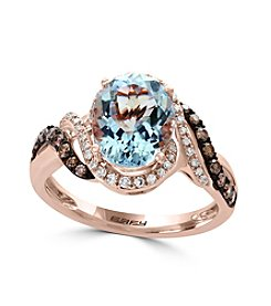 Effy® 14K Rose Gold Diamond And Aquamarine Ring