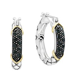 Effy® 925 Sterling Silver And 14K Yellow Gold Black Diamond Earrings
