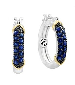 Effy® Sterling Silver And 14K Yellow Gold Sapphire Earrings