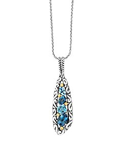 Effy® Sterling Silver And 18K Yellow Gold Blue Topaz Pendant