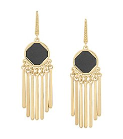 Laundry® Faux Leather Inlay Chandelier Earrings