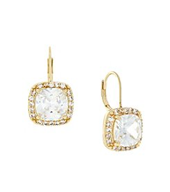 Jessica Simpson Euro Cubic Zirconia Single Stone Earring