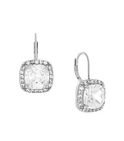 Jessica Simpson Euro Cubic Zirconia Single Stone Earrings