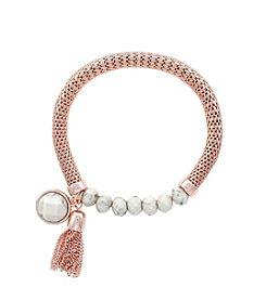 Jessica Simpson Howlite Semi Precious Strech Bracelet