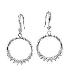 Stering Silver Open Circle Drop Earrings