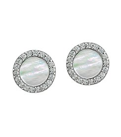 Designs By FMC Sterling Silver Round Mother of Pearl Earrings