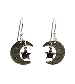 Silver Forest® Moon With Stars And Stone Earrings