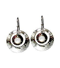 Silver Forest® Stone In Hammered Circle Earrings