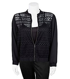 A. Byer Plus Size Lace Bomber Jacket