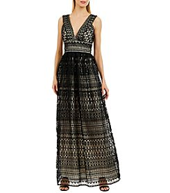 Nicole Miller New York™ V-Neck Lace Gown