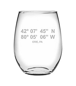 Susquehanna Glass Erie Latitude And Longitude Wine Glass